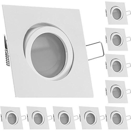 10er LED Einbaustrahler Set Weiß mit LED GU10 Markenstrahler von LEDANDO - 5W DIMMBAR - warmweiss - 110° Abstrahlwinkel - schwenkbar - 35W Ersatz - A+ - LED Spot 5 Watt - Einbauleuchte LED eckig
