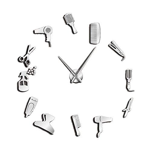 TOOGOO DIY Barber Shop Reloj de Pared Gigante con Efecto Espejo Juegos de Herramientas de Barbero Reloj Decorativo Sin Marco Reloj Peluquería Barber Wall Art (Plata)