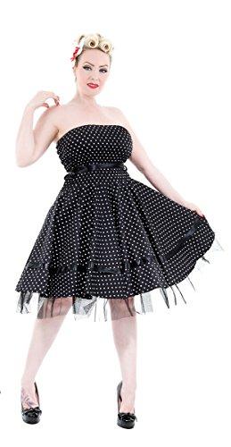 H&R London Bandeaukleid SMALL DOTS Dress Black-White L
