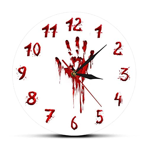 LTMJWTX Gruwelijke Bloedige Hand Horror Ontwerp Acryl Gedrukt Wandklok Halloween Decor Enge Klok Evil Dead Wall Art Watch-30X30cm