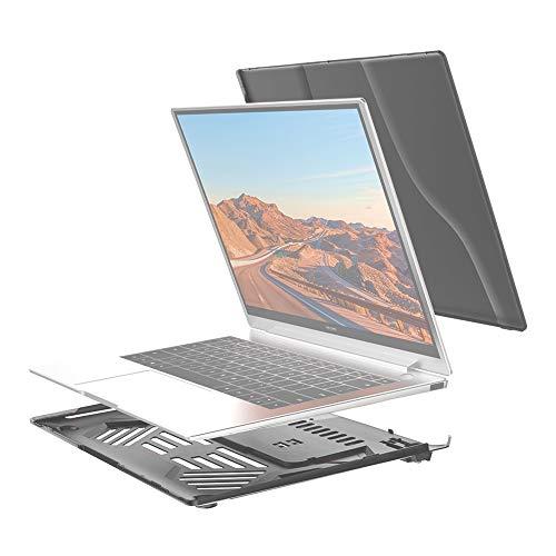 Diseño delgado, peso ligero Dividir la caja protectora del ordenador portátil PC de cristal a prueba de agua for Huawei MateBook X Pro, con el soporte y la manija (Negro), diseño delgado, ligero y fác