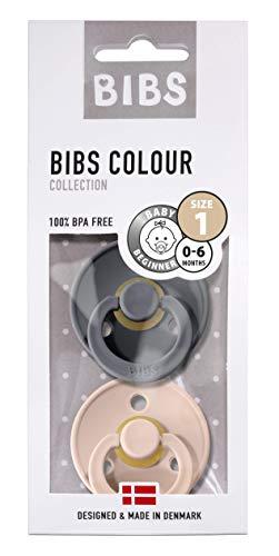 BIBS Schnuller Colour 2er Pack Größe 1 (0-6 Monate), Naturkautschuk, dänische Schnuller mit Kirschform (Iron/Blush, Größe 1 (0-6 Monate))
