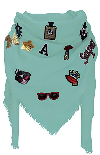 XXL PATCHES Damen STICKER Karo Schal Tuch Deckenschal Karoschal Halstuch Fashion Plaid (Mint)