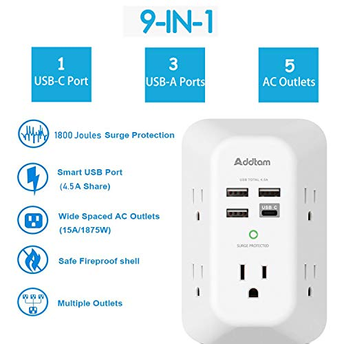 USB Wall Charger Surge Protector 5 Outlet Extender with 4 USB Charging Ports ( 1 USB C Outlet) 3 Sided 1800J Power Strip Multi Plug Outlets Wall Adapter Spaced for Home Travel Office ETL Listed