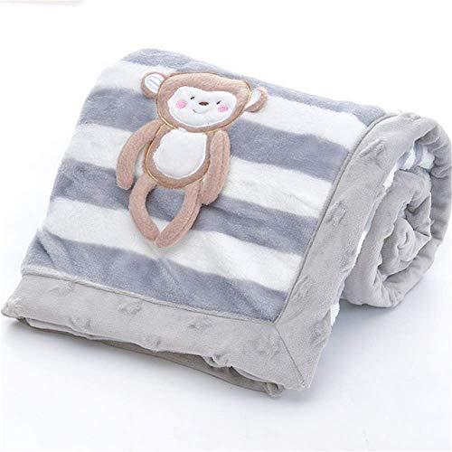 Babydecke, LANDOR Doppelschichten Flanell weiche Babydecke Winter warme Streifen Plüsch Kleinkind Decke bequeme Kinderwagen Decke (Grauer Affe)