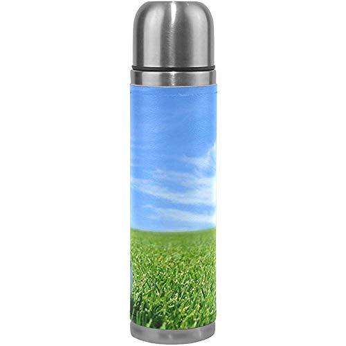 Like-like Pelota de Golf Cortada Verde con Aislamiento al vacío Frasco de Termo para Mujer Botellas de Agua de Acero Inoxidable + Copa de Bebida + Funda de Cuero para 500 ml