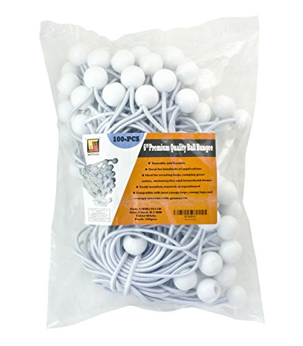 6 inch 100 Piece Heavy Duty 5mm Ball Bungee Canopy Cord By Wellmax, White Color