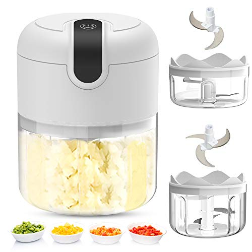 Pudhoms Electric Mini Garlic Chopper – Small Wireless Food Processor Portable Mini Garlic Choppers Blender Mincer Waterproof USB Charging For Ginger Onion Vegetable Meat Nut Chopper (150+250 ml Bowl)