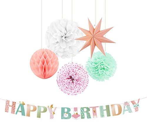 SUNBEAUTY Geburtstag Dekoration Set Happy Birthday Girlande für Kindergeburtstag Mädchen(Rosa)