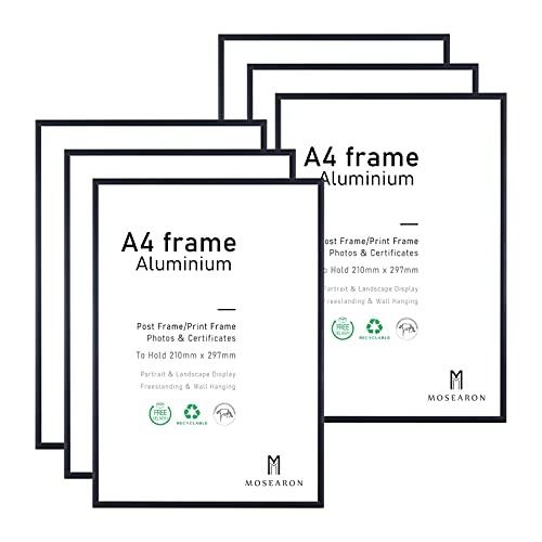 A4-Fotorahmen, 6er-Pack-21x30cm schwarzer Bilderrahmen, Zertifikatsrahmen für Wandmontage oder Tischaufsteller, 6er-Set