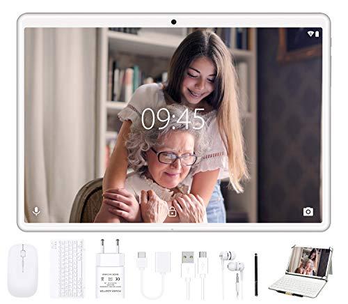 Tablet 10 Pollici - GOODTEL 4G Tablets con 4 GB RAM + 64 GB ROM, Tablets PC Android con Doppia Fotocamera (5MP+8MP), WiFi | GPS | Bluetooth | Doppia SIM | Type-C, con Tastiera Bluetooth e Mouse