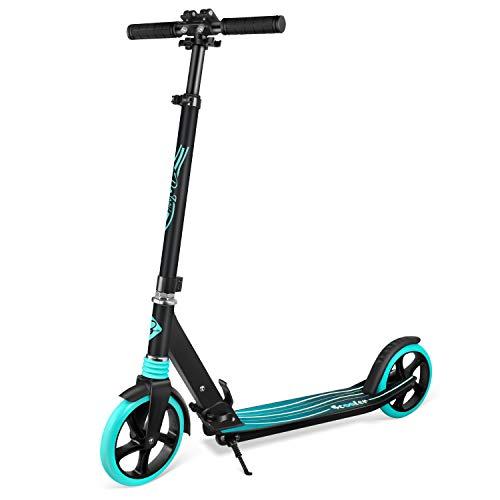 BELEEV Roller für Erwachsene, Tretroller Kick Scooter mit 2 Rädern, Schnellverschluss Klappbar System, 4 Höhenverstellbare, Große 200mm Räder Roller Jugendliche (Aqua)