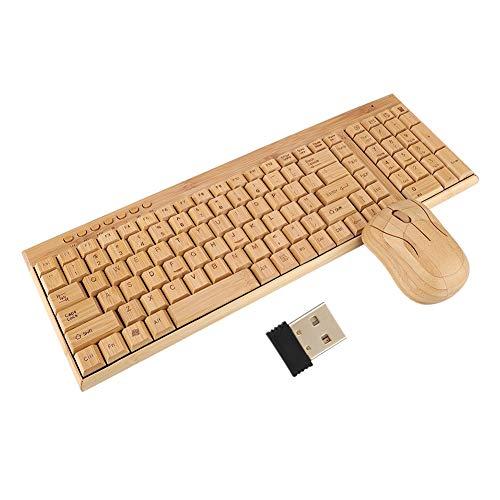 竹キーボード、ナチュラルワイヤレス超薄型竹木製デザインキーボードマウスコームKG201 + MG94-N防水装飾エコフレンドリー