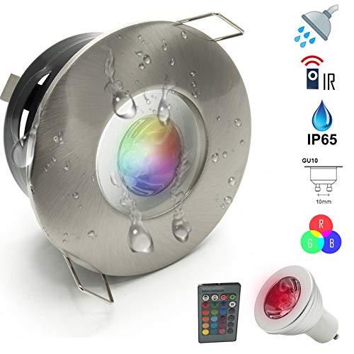 LED-Leuchte bunte Dusche, 3 W, türkisches Bad, Chrom, IP65 GU10 RGB 230 V Silver Spazzolato