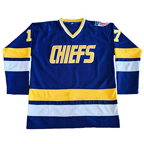 Men Hanson Brothers Jersey,Charlestown Chiefs 16 Jack 17 Steve 18 Jeff Slap Shot Movie Ice Hockey Jersey Stitched Blue White S-XXXL (17 Blue, Medium)