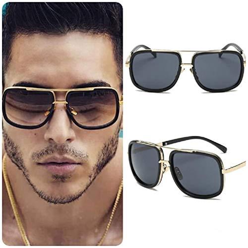 Gafas de sol para hombre, cuadradas, unisex, estilo retro, vintage, color negro