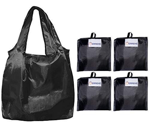 Erreke – återanvändbara shoppingpåsar, 4-pack, vikbar i den medföljande påsen, motståndskraftig polyester. Hög belastning, lätt, tvättbar och elegant. 35 x 58 x 8 cm (4 x svart)