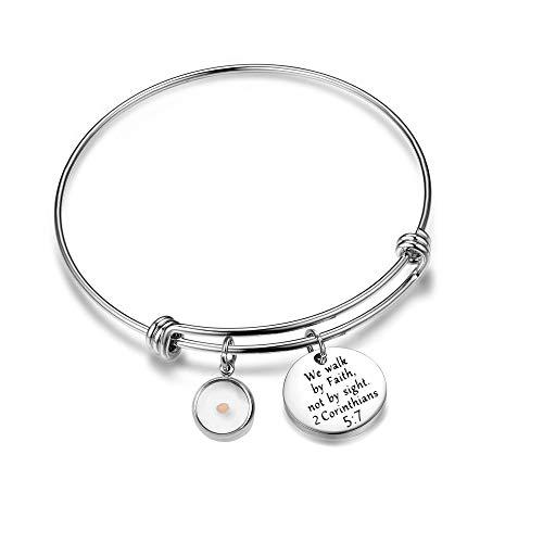 Inspirational Mustard Seed Faith Bracelets Christian Gifts for Women Teen-Girls (2 Corinthians 5:7)