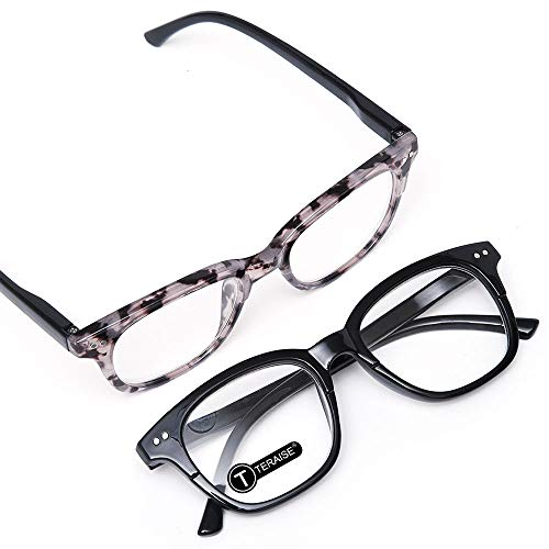 TERAISE 2PCS Klassische Retro-Lesebrille, Federscharnier, Hochwertige Lesegeräte für Frauen und Männer, Einfachheit Amber Tint Unisex-Brille, Superleicht Komfortabel(1.5X)