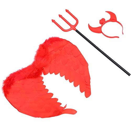 NUOBESTY Juego de 3 piezas de disfraz de diablo de Halloween para disfraz de diablo de cuerno de diablo rojo ala de plumas diablo para decoracin de fiesta de Halloween