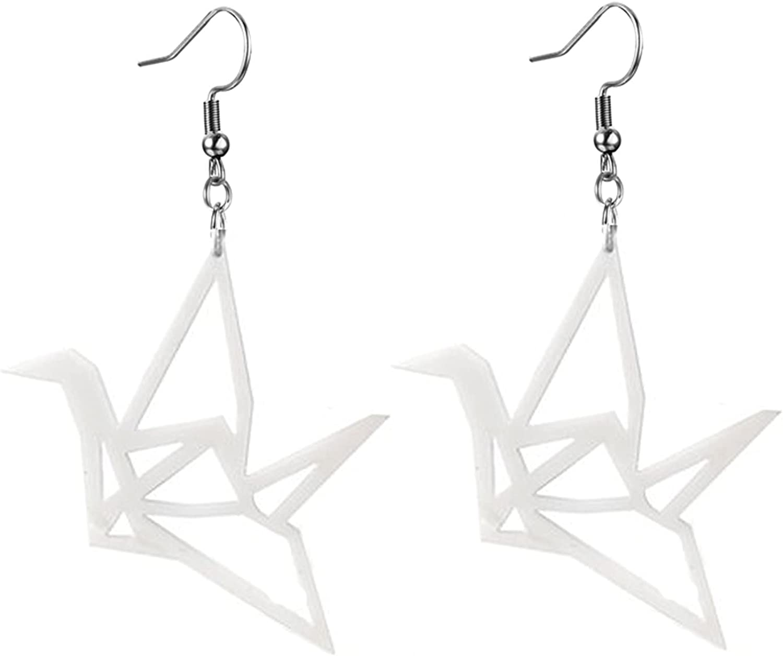 coadipress Origami Crane Earrings for Women Girls Personality Big Black White Acrylic Folded Paper Flying Bird Dangle Drop Weird Earrings Jewelry