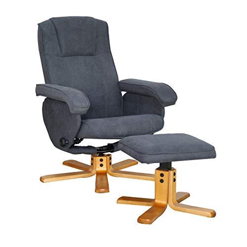SVITA Charles Relaxsessel TV Sessel Wohnzimmersessel Hocker Beinablage Fernsehsessel Drehstuhl Lesesessel Dunkelgrau