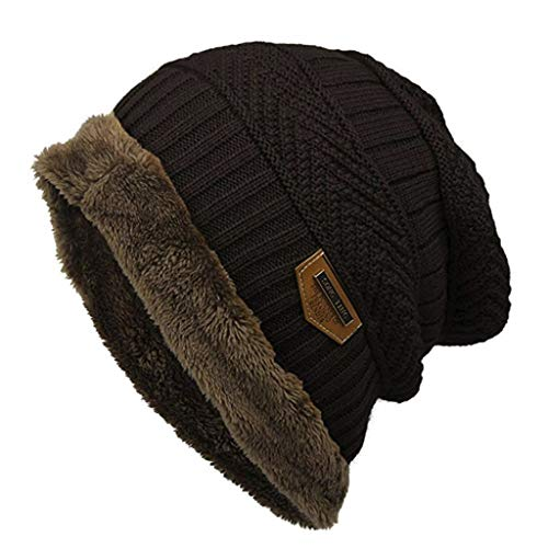 Dasongff Mütze Warm Gefütterte Wintermütze Elegantes Strickmuster Beanie Einheitsgröße Winter-Mütze Fleece-Futter Winter Strick-Mütze Beanie-Mütze