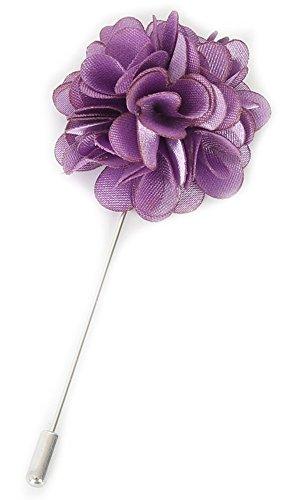 Flairs New York Gentleman's Essentials Premium Handmade Flower Lapel Pin Boutonniere (Pack of 1 Pin, Lavender Purple [Camellia])