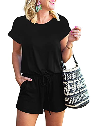 ANRABESS Women's Rompers Round Neck Casual Short Sleeve 1 Pcs Loungewear Jumpsuit Rompers with Pockets A233-hei-L