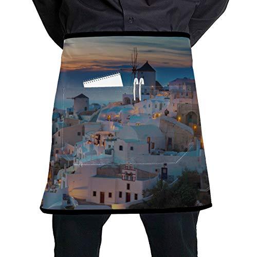 JINCAII Farbige Kellnerin Schürzen Beeindruckende Abendansicht von Santorini Kellnerin Kellner Schürze mit großer Tasche Unisex für die Küche Handwerk Grill Zeichnung