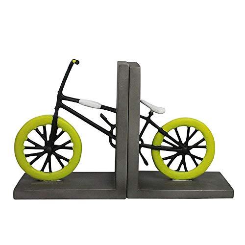 Buchstütze Set 2 Office Bookend for Home Office Bücherregal und Bibliothek Dekor Kreative Bookend Dekor-Fahrrad Modell Buchstütze (Color : Bicycle, Size : 27.5x7x16cm)