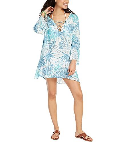 J. VALDI Women's Wovens Lace Up Front Tunic Swim Cover Up Blue M