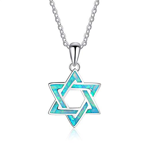 B&H-ERX Hexagrama Azul ópalo Colgantes Collares 925 Plata esterlina Magen David Estrella joyería Fina Regalo de cumpleaños para Ella