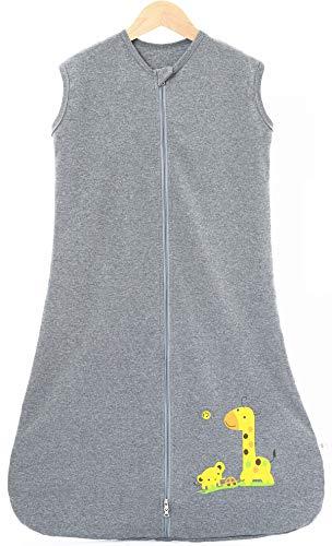 Chilsuessy Sommerschlafsack Baby Schlafsack Kleine Kinder Schlafanzug ohne Ärmel für Sommer und Frühling 100% Baumwolle (130/Koerpergroesse 130-150cm, Dunkelgrau)