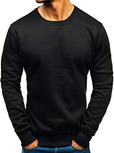 BOLF Herren Sweatshirt Pullover Sweater Pulli ohne Kapuze Langarmshirt Rundhalsausschnitt Farbvarianten Crew Neck Longsleeve Classic Fitness Basic Sport J.Style 2001 Schwarz L [1A1]