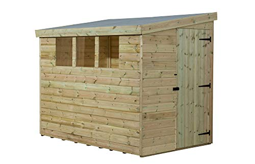 EMS Retail 7X6 GARDEN SHED SHIPLAP PENT TANALISED 3 LOW WINDOWS DOOR RIGHT