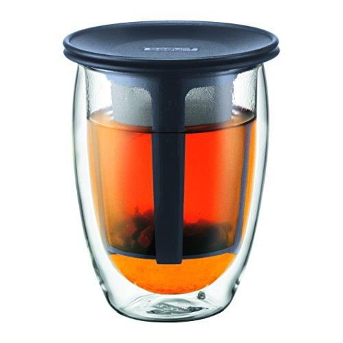 Bodum TEA FOR ONE Teeglas mit Kunststofffilter (Doppelwandig, Isoliert, 0,35 liters) schwarz