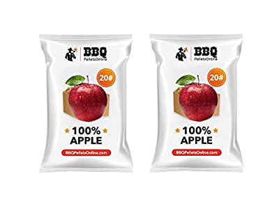 BBQPelletsOnline 100% Apple All Natural Amish-Made BBQ Pellets - 40 Pounds Perfect for Pellet Smokers, Any Outdoor Grill or Pizza Oven | Hot and Strong Smokey Flavor