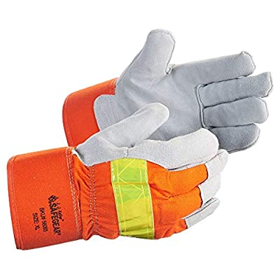 SAFEGEAR 3-pk. Cowhide Split Leather Work Gloves - XL Hi Viz Thinsulate-Lining Safety Gloves for Men or Women - Breathable, Durable & Abrasion Resistant - J. J. Keller & Associates