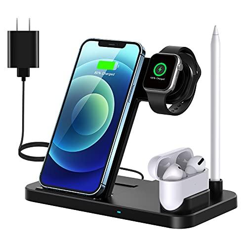 Cargador Inalámbrico Rápido,QI-EU 4 en 1 Inalámbrica Soportes de Carga para Apple Watch Airpods Pro iPhone 12/11 / 11pro / X/XS/XR/XS MAX / 8 Plus, Samsung Galaxy S20 (Incluye Adaptador
