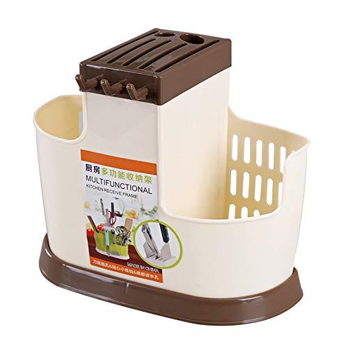 ZHNA Vaisselle Protection de l'environnement Drain Rack Baguettes Tube ménagers Multifonctions Plateau 26x12x21.3cm (Color : Khaki)