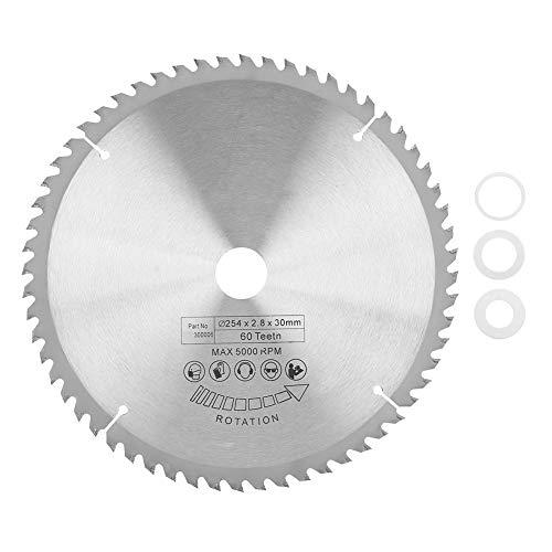 Hoja de sierra, 60 dientes 254 x 30 mm Hoja de sierra circular de carburo de plata Disco de corte TCT con arandela de 3 piezas para cortar metal madera plástico