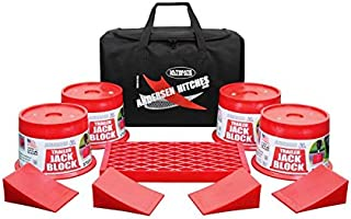 Andersen Hitches Trailer Jack Block Bag | 3608 x 4 | Includes 4 Trailer Jack Blocks, 4 Tuff Chocks, and 1 Clean Step in a Sturdy Carry Bag | Camper, RV, Trailer Jack Blocks | Includes Bumper Stickers