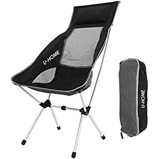 U-HOME Folding Camping Chair , Compact Portable Ultralight Folding Backpacking Chairs in a Carry Bag for Hiker , Camping , Beach , Fishing , Picnic , Outdoor , Garden , BBQs (Hold up to 400 lbs)