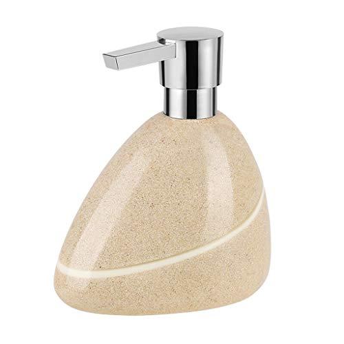 YZERTLH Dispensador de Jabon Dispensador de jabón de Resina Creative Stone Textured Surface Dispensador de jabón Manual Negro/Beige(13.5 oz) Dispensador Jabon Baño (Color : Beige)