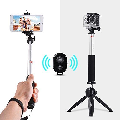 Palo Selfie Trípode 3-en-1 29' Monopie Extensible, Mini Trípode con Rótula, Control Remoto Inalámbrico para Cámara DSLR, Teléfono Inteligente (como iPhone, Samsung, Huawei) y Gopro