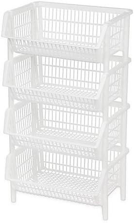 IRIS Jumbo Stacking Basket in Set 4 Mail order of White OFFicial store