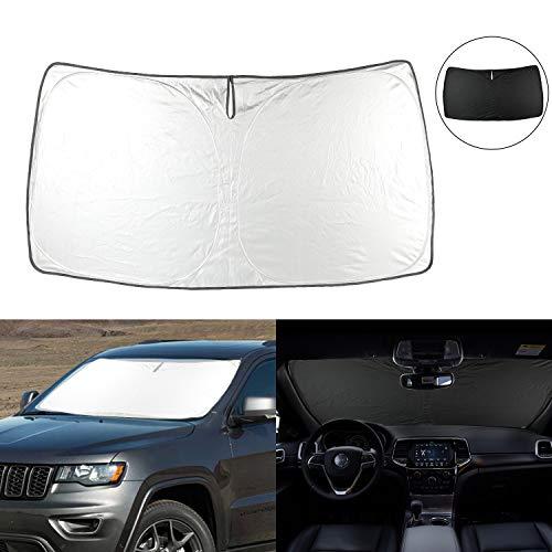 Windshield Sun Shade Compatible with 2011-2020 Jeep Grand Cherokee SUV Front Sunshade Heat Shield Custom-fit Protector Foldable Sun Visor