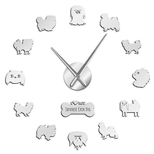 YQMJLF Reloj Pared DIY 3D Grande Retrato de Raza de Perro DIY Reloj de Pared Grande sin Marco Cachorro acrílico Espejo Superficie Pegatina Reloj de Pared Gigante decoración del hogar Plata