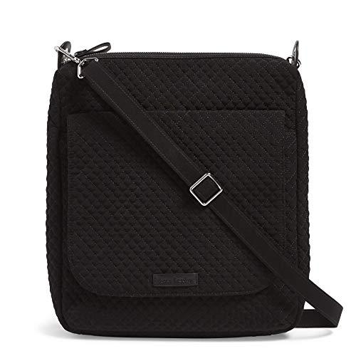 Vera Bradley Women's Microfiber Carson Mailbag Crossbody Purse, Classic Black
